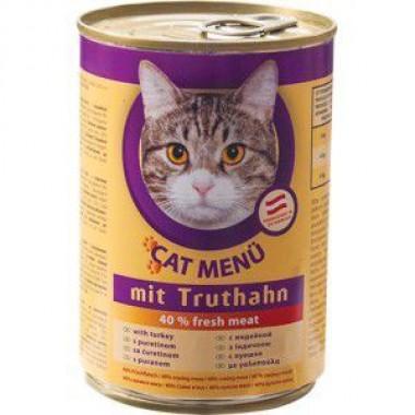 CAT Menu полнорационный консервированный корм для кошек, с домашней птицей (415г.)