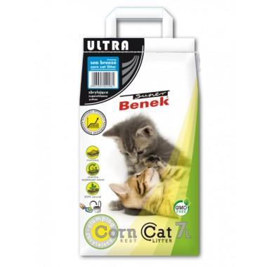 Наполнитель для туалета Super Benek Corn Cat Ультра Морской бриз, 7л