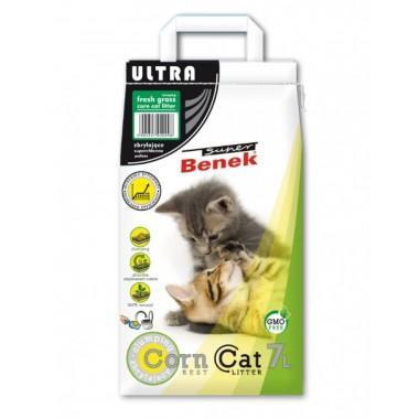Наполнитель для туалета Super Benek Corn Cat Ультра Свежая трава, 7л