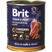 Консервированный корм BRIT Premium, говядина и печень