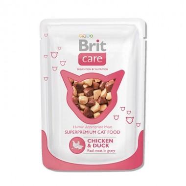 Суперпремиальный влажный корм для взрослых кошек Brit Care Cat с курицей и уткой