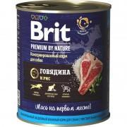 Консервированный корм BRIT Premium, говядина и рис