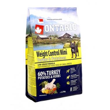 Корм Ontario для собак малых пород Контроль веса с индейкой и картофелем, 1 кг