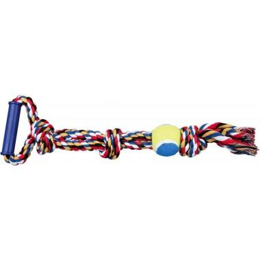 """Игрушка """"TRIXIE"""" для собаки """"DENTAfun"""" в виде веревки с теннисным мячиком и ручкой"""
