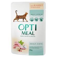 """""""Optimeal"""" защита иммунитета консервированный корм для кошек с кроликом в белом соусе"""