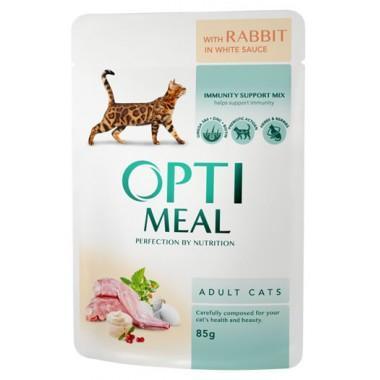 """""""Optimeal"""" 85 г защита иммунитета консервированный корм для кошек с кроликом в белом соусе"""