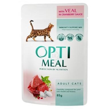 """""""Optimeal"""" 85 г защита иммунитета консервированный корм для кошек телятина в клюквенном соусе"""