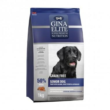 GINA Elite корм для пожилых собак с Лососем, Сладким картофелем и Спаржей 1кг (NEW)