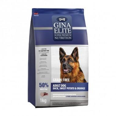 GINA Elite беззерновой корм для собак с Уткой, Сладким картофелем и Апельсином 1кг