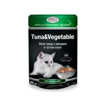 """Влажный корм """"Gina Tuna&Vegetable"""" для кошек с тунцом и овощами (в соусе)"""