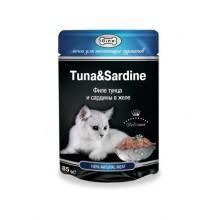 """Влажный корм """"Gina Tuna&Sardine"""" для кошек филе тунца и сардины (в желе)"""