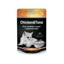 """Влажный корм """"Gina Chicken&Tuna"""" для кошек с тунцом и цыпленком (в соусе)"""