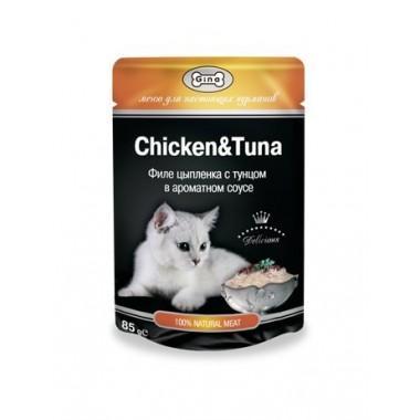 """Влажный корм """"Gina Chicken&Tuna"""" для кошек с тунцом и цыпленком (в соусе) 85 гр."""