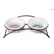 Миски керамическая с подставкой TRIOL Пончики 2x0,25 л