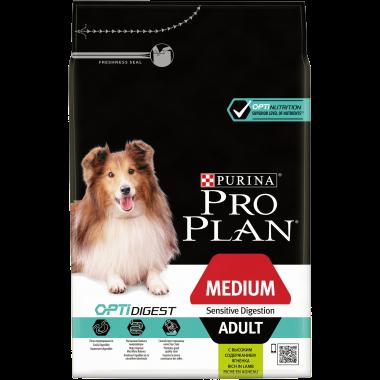 Pro Plan Medium Adult Sensitive Degestion Корм сухой полнорационный для взрослых собак с чувствительным пищеварением, с ягнёнком и рисом.1 кг.