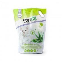 Sanicat Professional Diamonds Aloe Vera силикагелевый наполнитель с запахом Алоэ из крупных гранул, 15 л.
