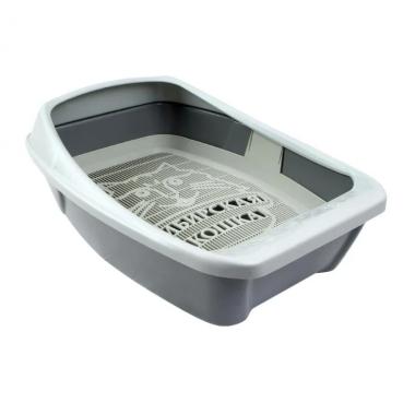 """Туалет-лоток для кошек Сибирская кошка """"Евро"""" глубокий с сеткой и бортиком"""