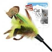 """Дразнилка """"Goods for pets"""" для кошек на стеке с рыбками и перьями, 75 см 10007"""
