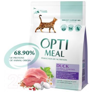 """Беззерновой сухой корм для кошек (утка и овощи) """"Optimeal"""" 4 кг. весовка"""